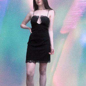 solemio black lace spaghetti strap dress